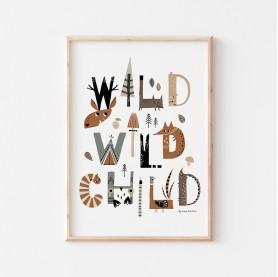 poster enfant animaux de la forêt, wild child, poster enfant animaux des bois, affiche enfant renard