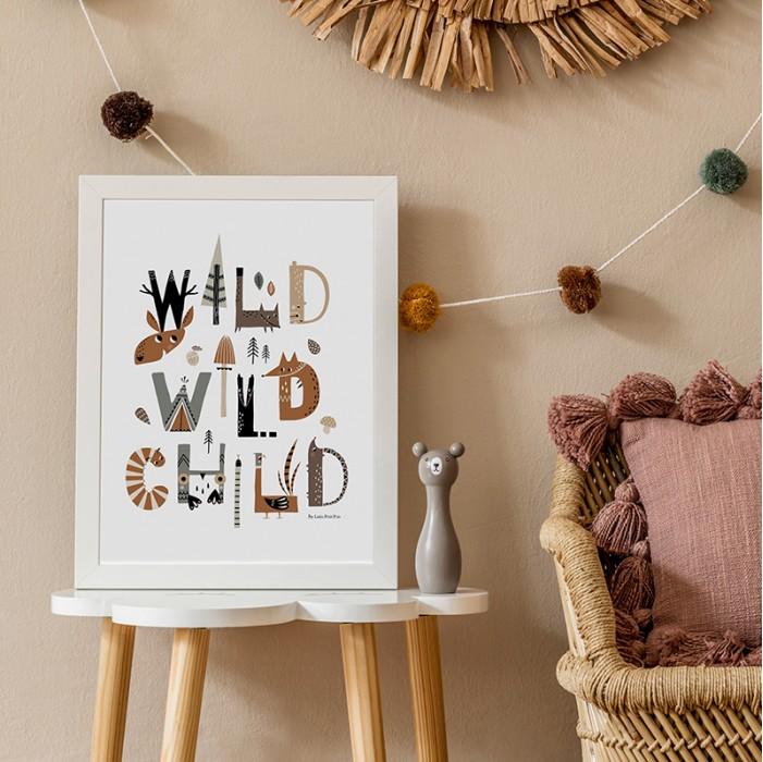 affiche enfant animaux forêt, affiche enfant wild child, lutin petit pois, affiche enfant animaux des bois