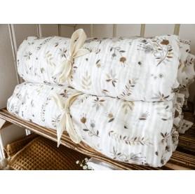 maxi lange bébé double gaze coton 120 x 120 cm, maxi lange prairie lutin petit pois