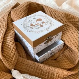 Coffret musical bijoux enfant trousselier écureuil, boîte à bijoux lutin petit pois