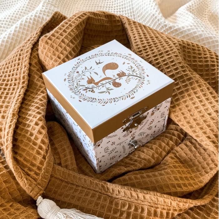 Boîte à bijoux enfant trousselier écureuil, lutin petit pois, boîte à musique trousselier écureuil