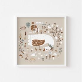 affiche enfant oie, affiche bébé oie, lutin petit pois, magic garden, affiche enfant beige caramel et ocre