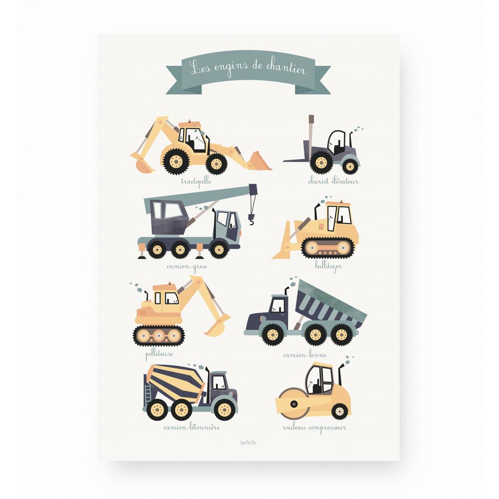 affiche enfant engins de chantier, affiche enfant voitures et véhicules