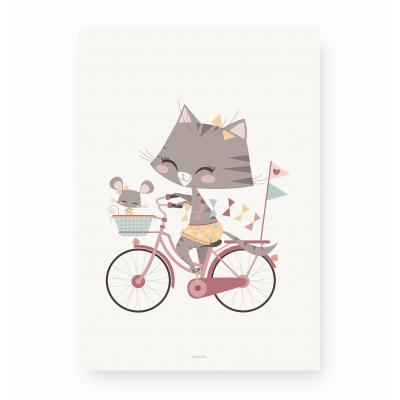 affiche enfant chat et souris rose