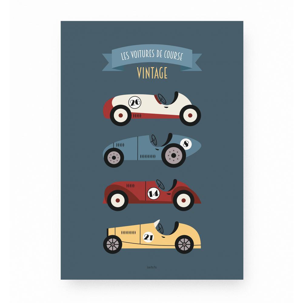 affiche enfant véhicules et voitures, affiche bébé voitures