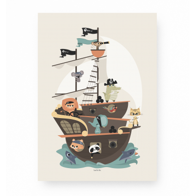 affiche enfant pirate animaux