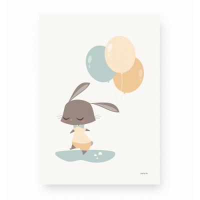 affiche enfant lapin bleu