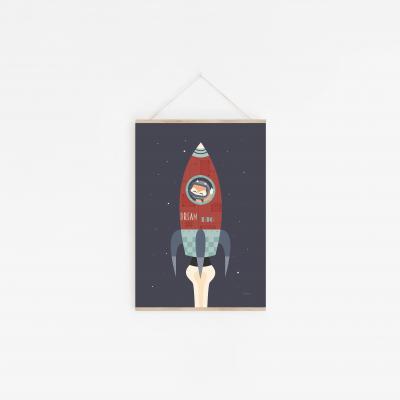 affiche bébé fusée, affiche bébé espace, affiche bébé renard, lutin petit pois