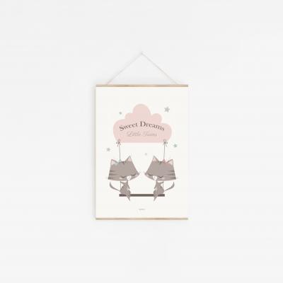 affiche bébé jumelles, affiche bébé fille, lutin petit pois, décoration chambre jumelles